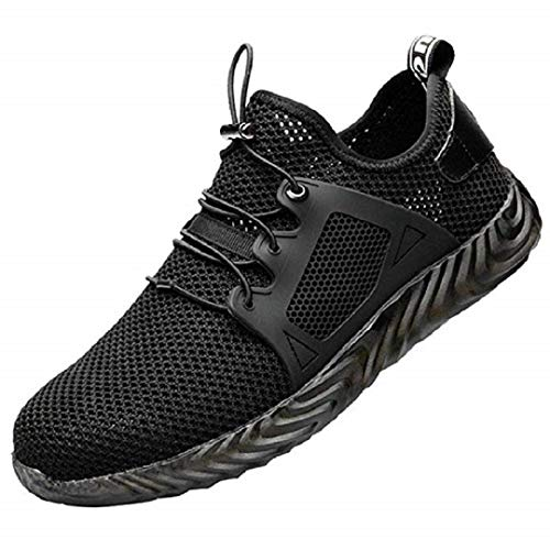Sicherheit Turnschuhe - Netzgewebe Super Atmungsaktiv Unzerstörbar Schuhe, Männer unzerstörbare Ryder Stahlkappe Boot Sicherheit Militär Arbeit Sport Laufschuhe (42 EU, Schwarz)