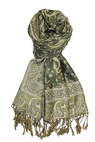 Dark Olive Soft Silky Paisley Pashmina Shawl Wrap Scarf Stole w/Fringes 80