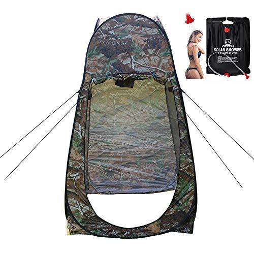 LXZH Outdoor Duschzelt Camping mit 20L Solardusche Tasche, Tragbare Privatsphäre Pop Up Umkleidezelt Toilettenzelt WC Zelt 120 * 120 * 195CM,Maple Leaf Camouflage