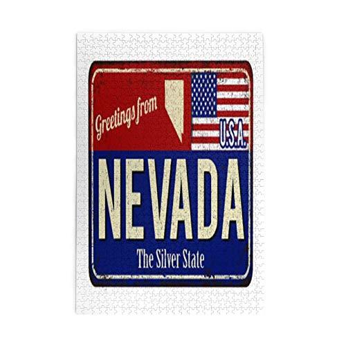 Nevada The Silver State Rusty - Puzles de metal con diseño...
