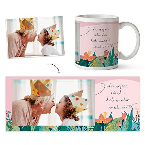 Fotoprix Taza Personalizada con Foto para Abuelo o Abuela | Regalo Original día del Abuelo | Varios diseños Disponibles (Abuela)