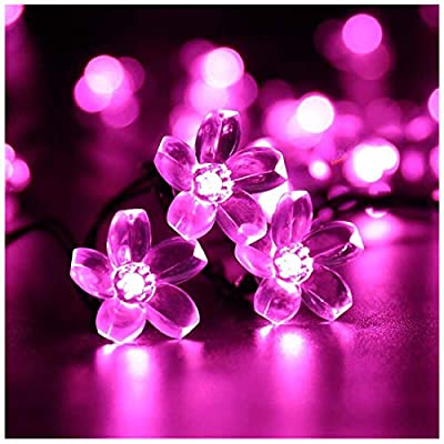 SEMILITS Solar Powered String Lights Outdoor Waterproof 50LED Peach Blossom Xmas Decorations for Garden Patio
