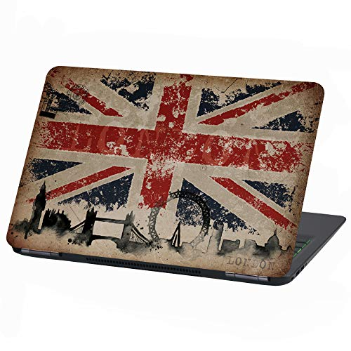 Pegatina de vinilo para portátil de 17 pulgadas, diseño abstracto de la bandera británica LP11