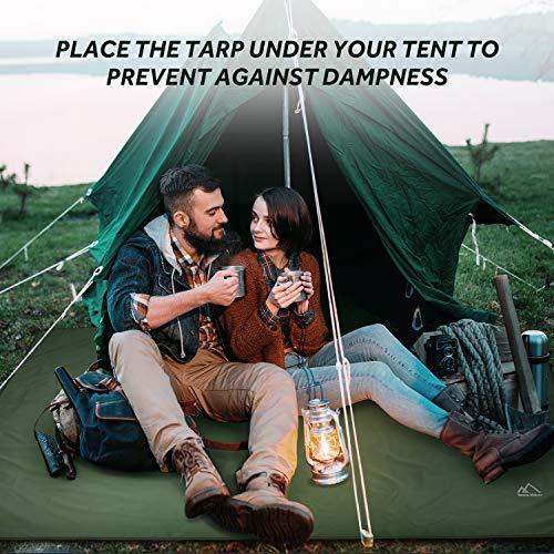 "Terra Hiker Camping Tarp, Waterproof Picnic Mat, Mutifunctional Tent Footprint with Drawstring Carrying Bag for Picnic, Hiking (Dark Green 59"" x 86"")"