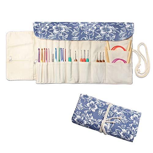 Teamoy Knitting Needles Holder Case(up to 11 Inches), Rolling Organizer for Straight and Circular Knitting Needles, Crochet Hooks and Accessories, Blue Flowers - NO Accessories Included