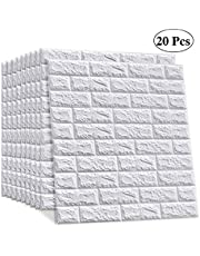 LEISIME 20 PCS - 116 Sq Ft 3D Wall Sticker Self-Adhesive Wall Panels Waterproof PE Foam White Wallpaper for Living Room TV Wall and Home Decor (Brick)