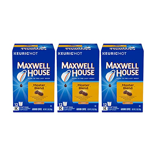 Maxwell House Master Blend Coffee, Light Roast K-Cup Packs, 12 count Box (Pack of 3)