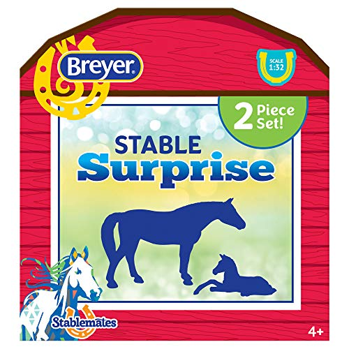 Breyer Horses Stablemates Stable Surprise | Open and Find Surprise Horse and Foal | 2 Horse Set | Horse Toy | Horse Figurines | 3.75' x 2.5' | 1:32 Scale | Model #6049