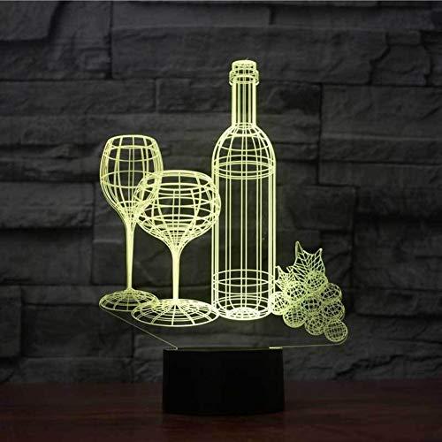 GCCQT Wijnglas, nachtlampje, LED, illusie, 3D-tafellamp, touch-kleurverloop, 7 kleuren, USB-oplaadbaar, voor decoratie van het huis, sfeerverlichting, verrassing, cadeau voor verjaardag