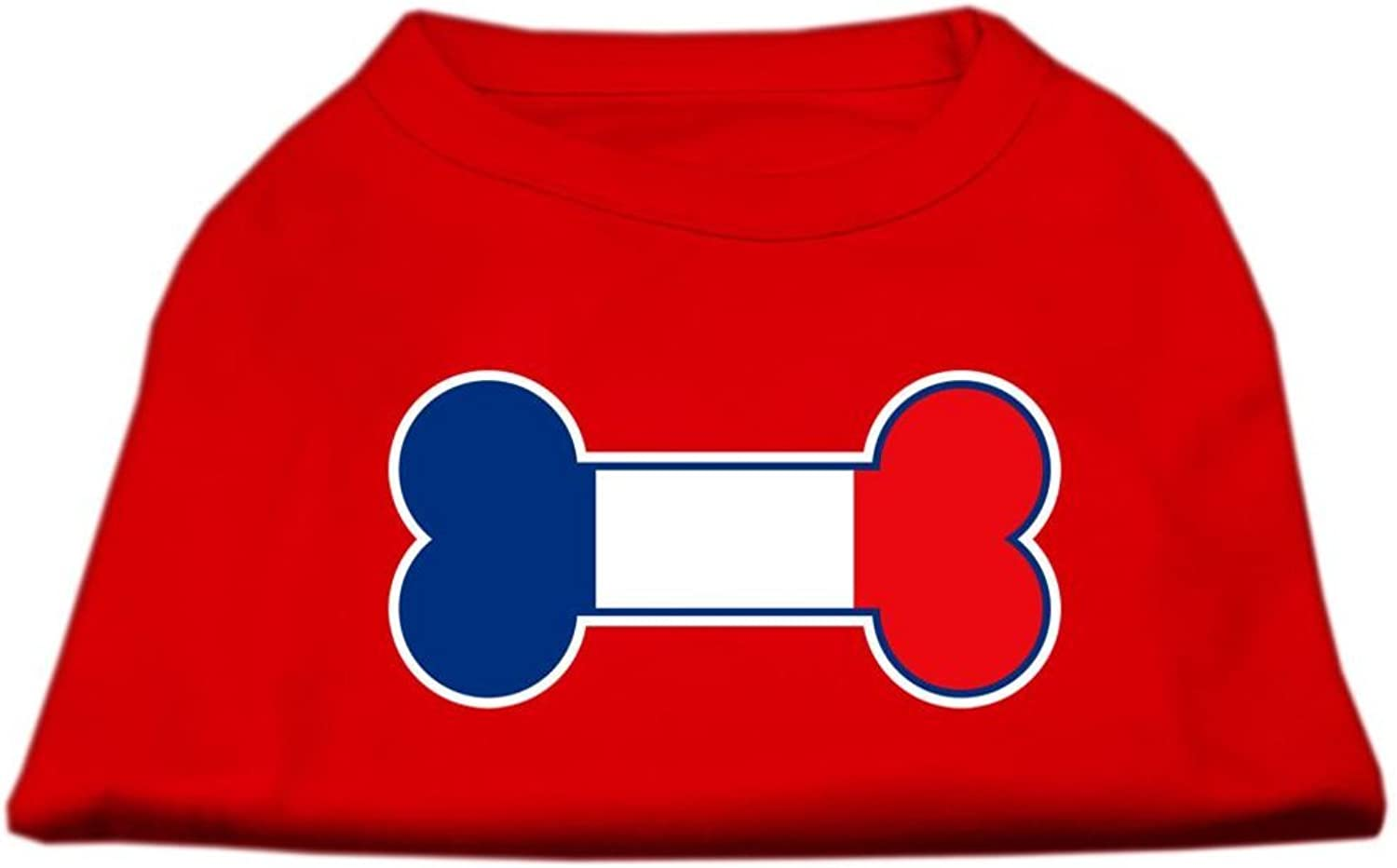 Mirage Pet Products Bone Shaped France Flag Screen Print Shirts Red XXL (18)