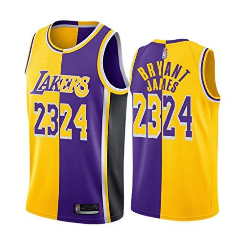 XXJJ Lakers Kobe Bryant # 24 Mamba James # 23 Split Special Jersey, el nuevo Fan Sports Shirt (S-XXL) Quick Drying Mesh Sudadera Gold Purple-L