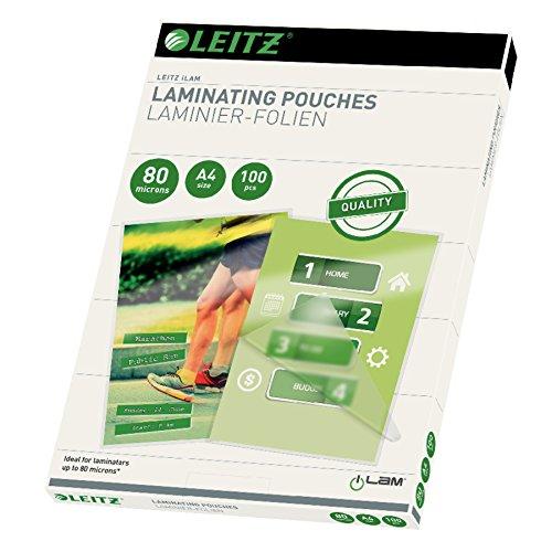 Leitz Heißlaminierfolien, Glänzend, transparent, A4, Folienstärke 80 mic, 100er Pack, 33818