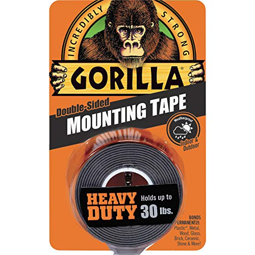 """Gorilla Heavy Duty Double Sided Mounting Tape, 1"""" x 60"""", Black, (Pack of 1) - 6055001"""