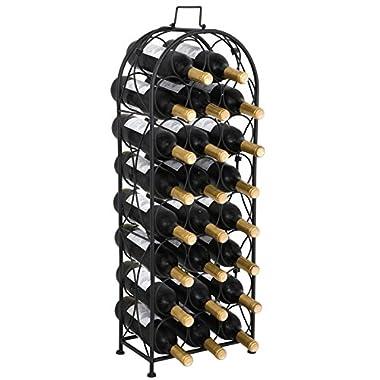 F2C 23 Bottles Wine Rack Stand Floor Wine Holder Metal Construction Free Standing Elegant French Style