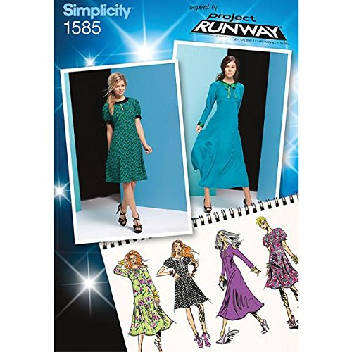 Simplicity Project Runway Pattern 1585 Misses Dress in 2 Lengths with Sleeve and Trim Variations Sizes 4-6-8-10-12
