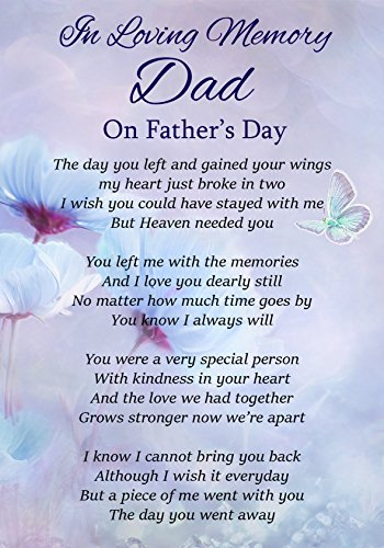 In Loving Memory Dad On Father's Day Memorial Graveside Funeral Poem...