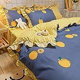 Falda de cama de algodón de cuatro piezas, estilo princesa, funda de edredón doble para niña, ropa de cama de algodón puro, estilo desgastado, floral, chic, hipoalergénico