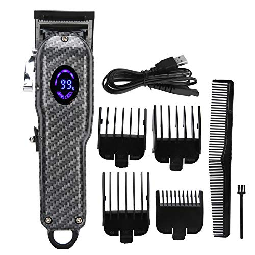 Cortadora de cabello eléctrica con carga USB, kit de cabezal de aceite para corte de cabello profesional, cortadora de cabello, peluquería, peluquería, herramienta de aseo con pantalla LED para