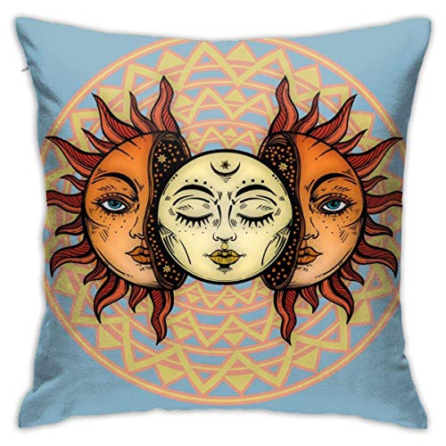lucies Blue Circle Pattern Mandala of Vishuddha Throw Pillow Case Soft Cushion Cover 18 X 18 Inch Decorative Pillowcases Modern Square Pillow Case Home Car Decoration