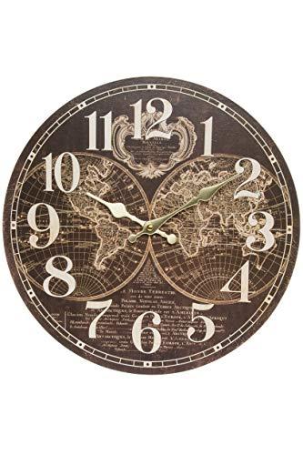 Wanduhr - Holz Küchenuhr mit großem Ziffernblatt aus MDF, Retro Uhr im angesagtem Shabby Chic Design (Weltkugel braun)