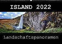 Island Landschaftspanoramen (Wandkalender 2022 DIN A2 quer): Die grossartige Landschaft Islands festgehalten im Panoramaformat (Monatskalender, 14 Seiten )