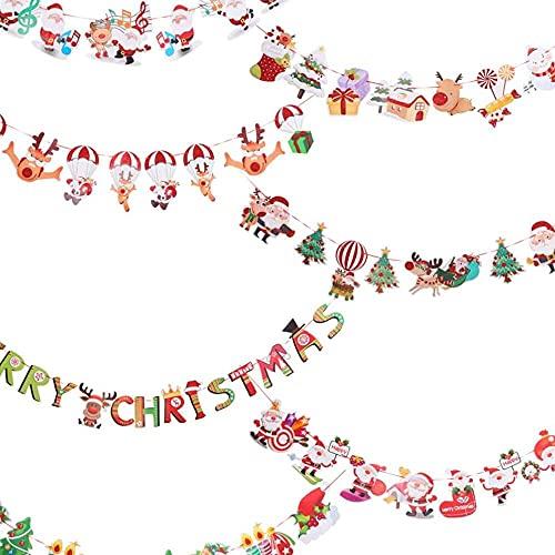 xiaoyu shop Guirnalda de Navidad con texto en inglés 'Merry Christmas' para colgar banderines de Santa Claus Elf Snowman Tree para decoración de la puerta de la pared de la casa 7 piezas