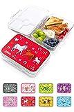 Jarlson Brotdose für Kinder mit 4 Fächern - Lunchbox aus Tritan - Bento Box auslaufsicher – Jausenbox für Kindergarten und Schule - Mädchen und Jungen - 850ml (Pferd)