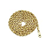14K Yellow Gold 3.5mm Hollow Diamond Cut Rope Chain Necklace, Mens Womens with Lobster Lock (22)