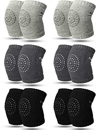 6 Pairs Crawling Knee Pads Anti-Slip Baby Knee Protectors Toddlers Leg Warmers (Black, Gray, Dark Gray)