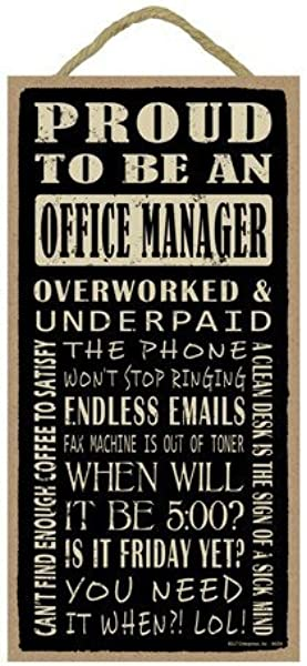 Aianhe Proud To Be An Office Manager Wood Sign Plaque With Funny Sayings Craft Gifts For Home Decor 10x5 Inches