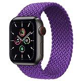 EMIOBAND Cinturino Compatibile per Apple Watch 44mm 42mm 38mm 40mm Solo Loop Intrecciato Tessuto in Silicone Cinturino di Ricambio in Nylon Elastico per iWatch Serie 6/SE/5/4/3/2/1 per Uomini e Donne