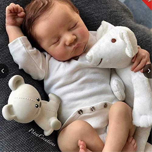 50 cm Reborn Doll 20 Pouces Sleeping Newborn Full Silicone Dolls, Poupées pour Tout-Petits légers et lavables Cadeaux de Noël Jouets pour Enfants