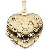 JOBO Medaillon Herz 333 Gold Gelbgold mattiert