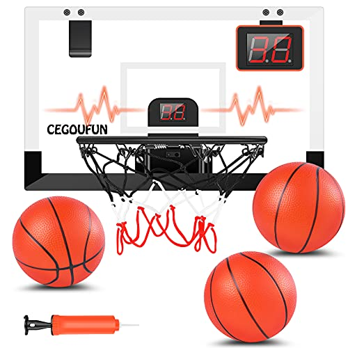 CEGOUFUN Basketball Hoop Indoor with Electronic Scorer, Shatter Resistant Mini Basketball Hoop with 3 Balls, Sturdy Backboard, Indoor Basketball Toy Gifts for Boys Girls Teens Adults