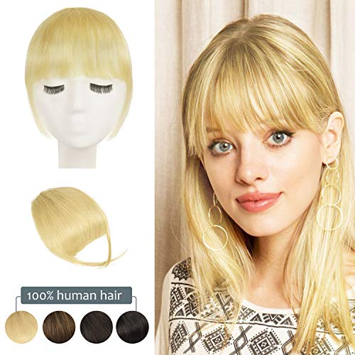 Clip in Bangs, BARSDAR 100% Human Hair Bangs Extensions French Bangs Neat Bangs with Temples Clip on Fringe Bangs Real Hair for Women Natural Color Washable/Dyeable(Neat-Bleach Blonde)