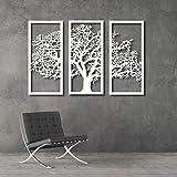 Tubibu - Lot de 3 tableaux de type panneau avec cadre «Arbre de vie, arbre familial» - sculpture en métal pour décoration murale, de salon, de chambre - (31,8 x 70 cm) x 3 pièces blanc