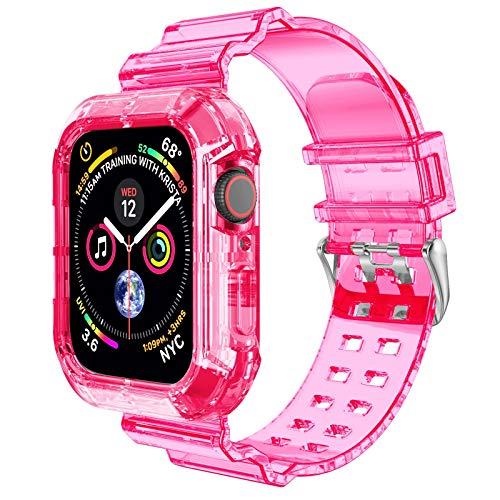 NotoCity Cinturino Compatibile con Apple Watch SE, Apple Watch Serie 6 5 4 3 2 1 42mm 44mm Replacement Cinturino TPU,Creativo,Trasparente (Rosso)
