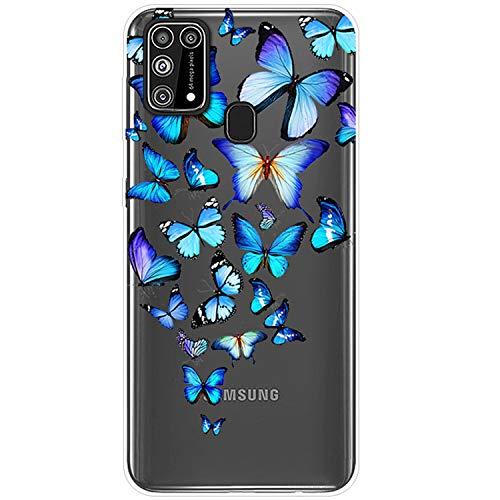 Funda para Samsung M31 Carcasa transparente suave silicona TPU Gel Clear Case Galaxy M31 flor jungla mar Pattern cubierta ultra fina flexible antigolpes protectora 8 S