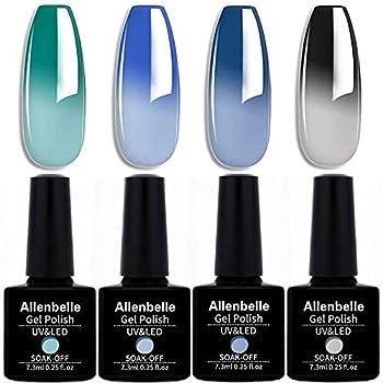 Allenbelle Color Changing Nail Polish Gift set Color Changing Gel Polish Set Mood Soak Off Uv Led Gel Nail Polish Lot of 4pcs 7.3ML/pc)005