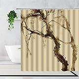 Duschvorhang 180X180 Khaki Duschvorhang Anti-Schimmel & Wasserabweisend Shower Curtain, Duschvorhänge mit 12 Haken,Duschvorhang Textil Waschbar,Polyester