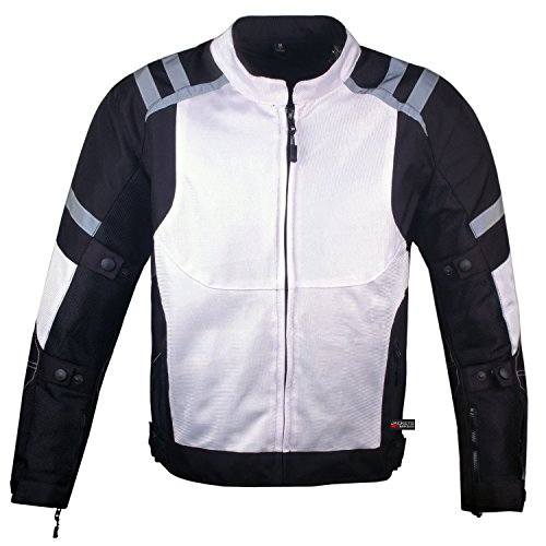 Mens Storm Mesh Armored Reflective Waterproof White Motorcycle Jacket L