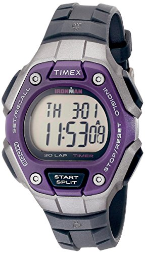 Timex Women's Ironman 30-Lap Digital Quartz Mid-Size Watch, Black/Silver-Tone/Purple - TW5K89500