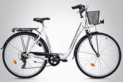 Bergsteiger Florenz 28 Zoll Damenfahrrad, ab 160 cm, Korb, Fahrrad-Licht, Shimano 7 Gang-Schaltung, Standlichtfunktion, Damen-Citybike, Damenrad im Retro-Design - 3