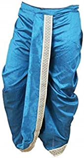 Indian Cultural Traditional torquoise blue Stitched Dhoti with threadwork border