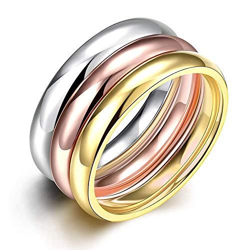 『Rockyu ジュエリー ブランド 3連リング レディース 指輪 チタン ダイヤ 金 18k ピンクゴールド シルバー』のトップ画像