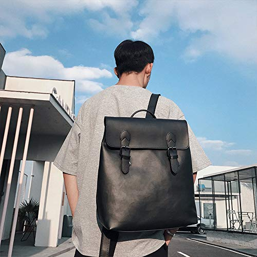 CLCCYYSJD Retro Clamshell Leather Men's Backpack, Student Couple Casual Bag Computer Bag, Waterproof Computer Bag Travel Bag (Color : Black)