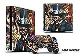 247Skins Designer Decal for PlayStation 4 SLIM System plus Two (2) Decals for PS4 Dualshock Controller - Mad Hatter