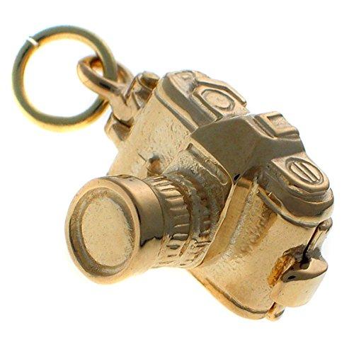 9 Karat Gold Kamera Charm. Spiegel Reflex Art. Eröffnung zu zeigen, ein Mädchen und Jungen. Handgemacht von Welded Bliss WBC1615
