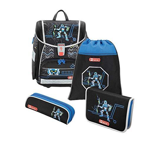 """Step by Step Schulranzen-Set Touch 2 """"Strongly Robot"""" 4-teilig, blau-schwarz, Roboter-Design, ergonomischer Tornister mit Reflektoren, höhenverstellbar für Jungen 1. Klasse, 21L"""
