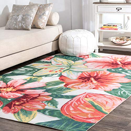 nuLOOM Violet Floral Indoor/Outdoor Rug, 6' Square, Multi